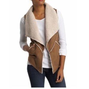 Sanctuary Brown Faux Suede Shearling Vest Jacket